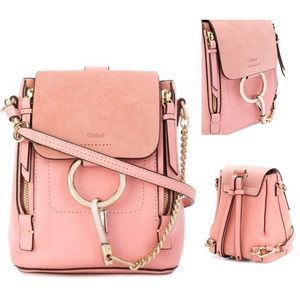 Chloe Mini Faye Backpack Washed Pink Leather/Suede